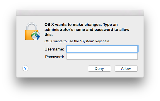 MacOS wants to make changes